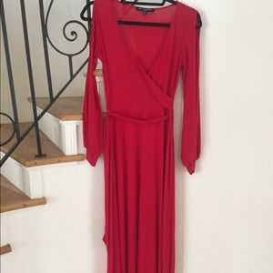ONE CLOTHING red maxi peasant dress - size small